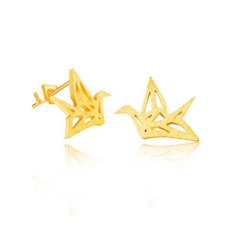Joboly Origami crane bird subtle earrings