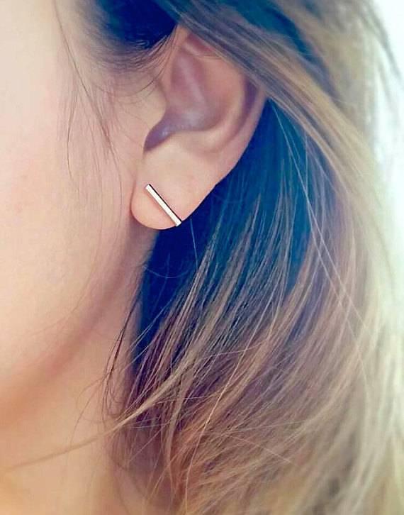 Joboly Bar T minimalistische ronde staaf oorbellen