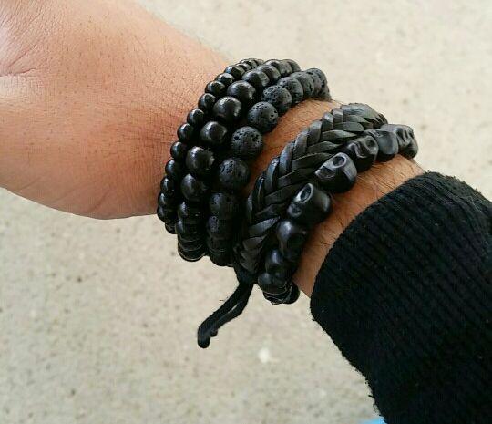 Trendy Leren Bank.Joboly Stoere Hippe Leren Mannen Heren Armband Set