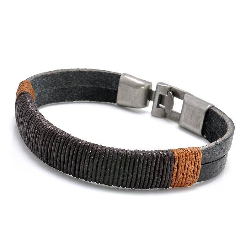 Joboly Tough real leather men / men's bracelet with metal closure