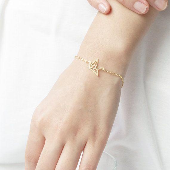 Joboly Origami crane bird subtle bracelet