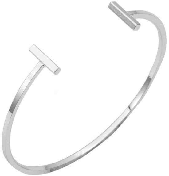 Joboly Minimalistisches flaches Armband mit Doppelbarren