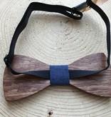Joboly Stijlvolle houten vlinder strik vlinderdas donker blauw