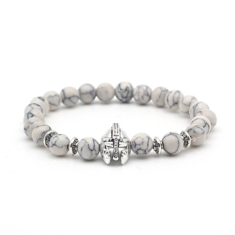 Joboly Robuste Männer / Männer Helm Schild Ritter Perlen Armband Marmor