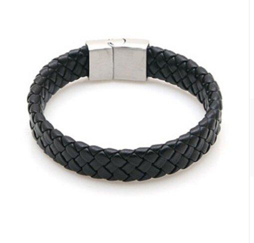 Joboly Stoere platte brede mannen / heren armband gevlochten met handige sluiting
