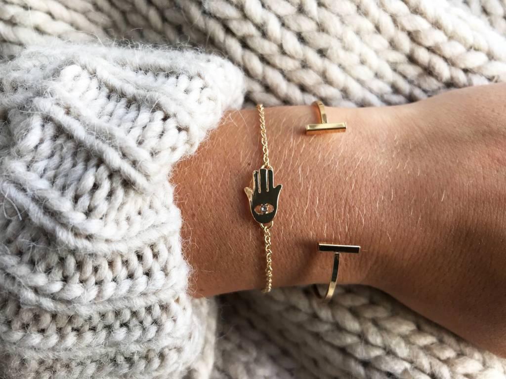 Joboly Double bar minimalist flat bracelet