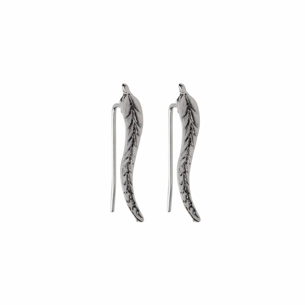 Joboly Trendy oorbellen met blad veer leaf langs je oorlijn