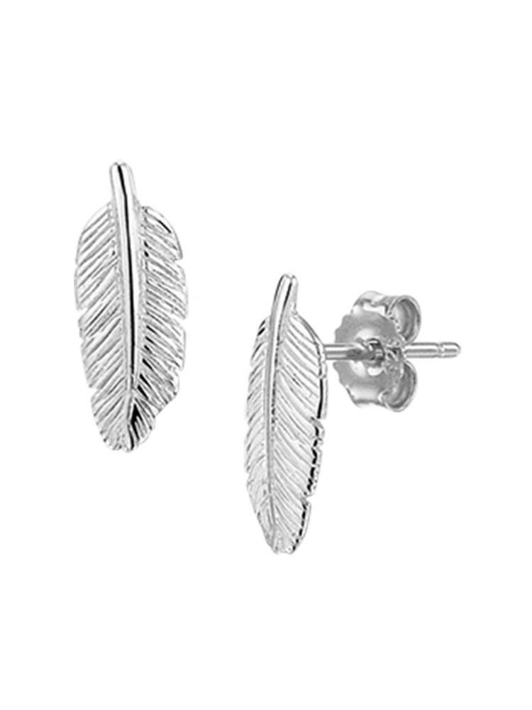 Joboly Sieraden Oorbellen Veer - Dames - oorknopjes 925 zilver