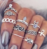 Joboly Hip boho bohemian style ring set