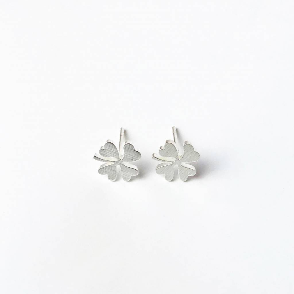 Joboly Four-leaf clover plant flower hip earrings
