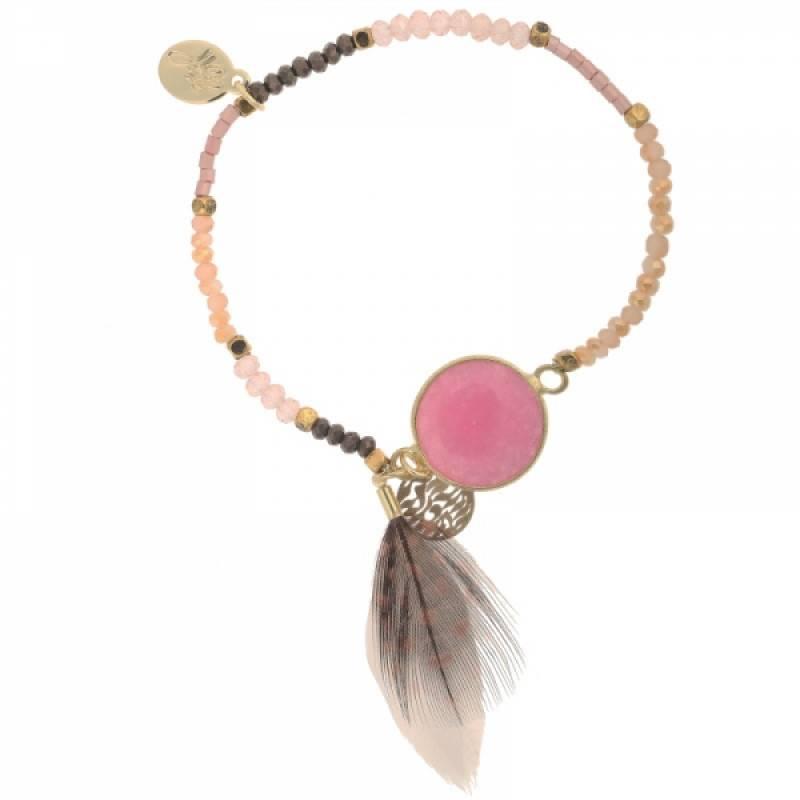 Lovelymusthaves Ibiza kralen armband met veertje