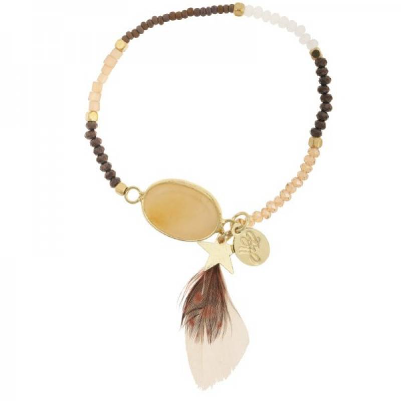 Lovelymusthaves Ibiza beaded bracelet with feather