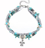 Joboly Beaded boho starfish anklet