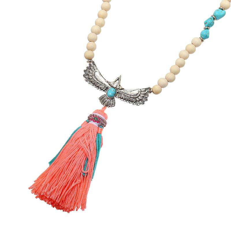 Lovelymusthaves Ibiza boho bead necklace with bird