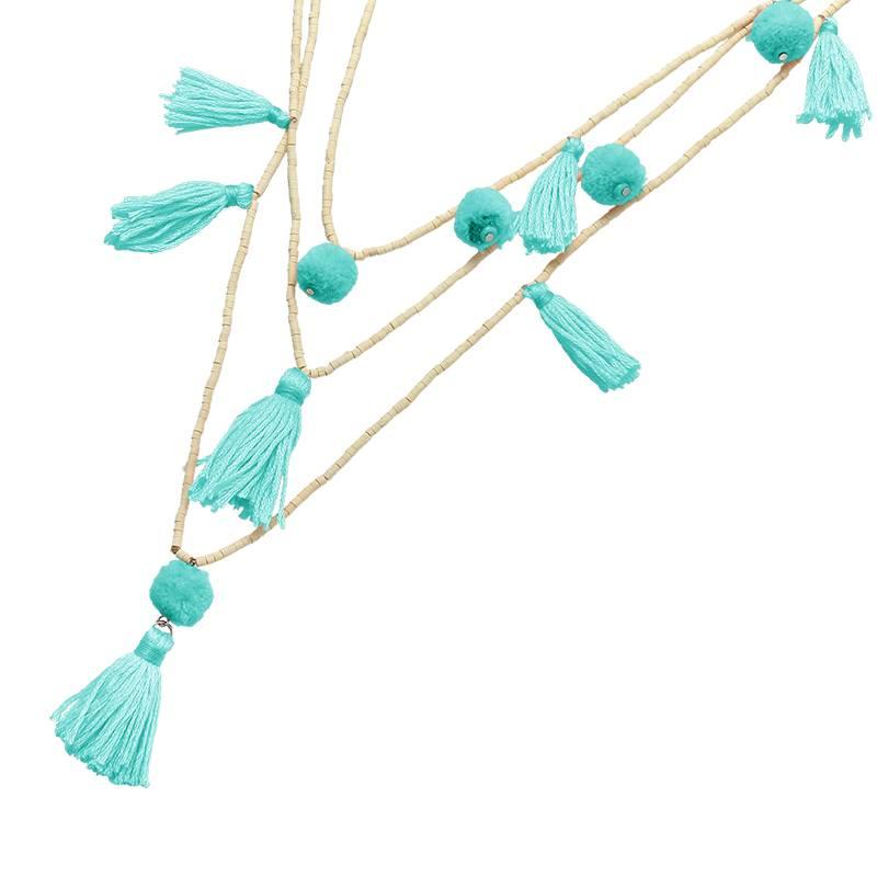 Joboly Ibiza boho pompons necklace