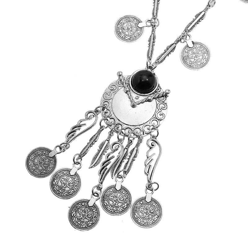 Joboly Ibiza boho coin feather necklace