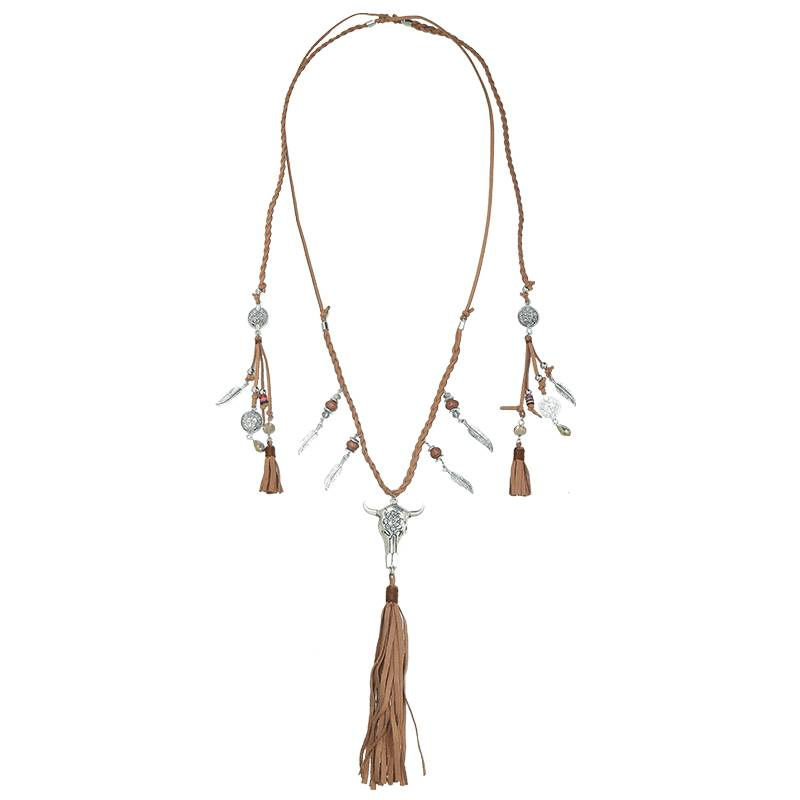 Joboly Ibiza boho buffalo necklace with charms