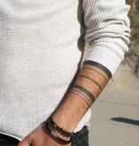 Joboly Joboly Sieraden Armband Leer en Lavasteen - Heren