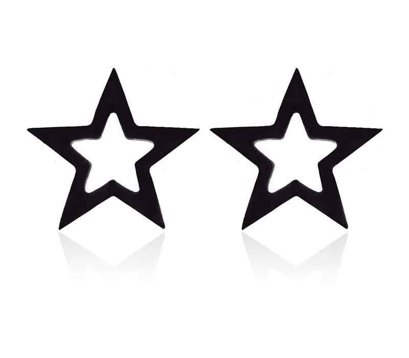Zwarte ster oorbellen