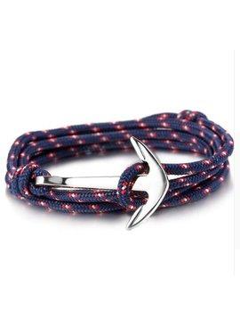 Joboly Stoere heren / mannen anker armband verstelbaar grijs/bruin/blauw