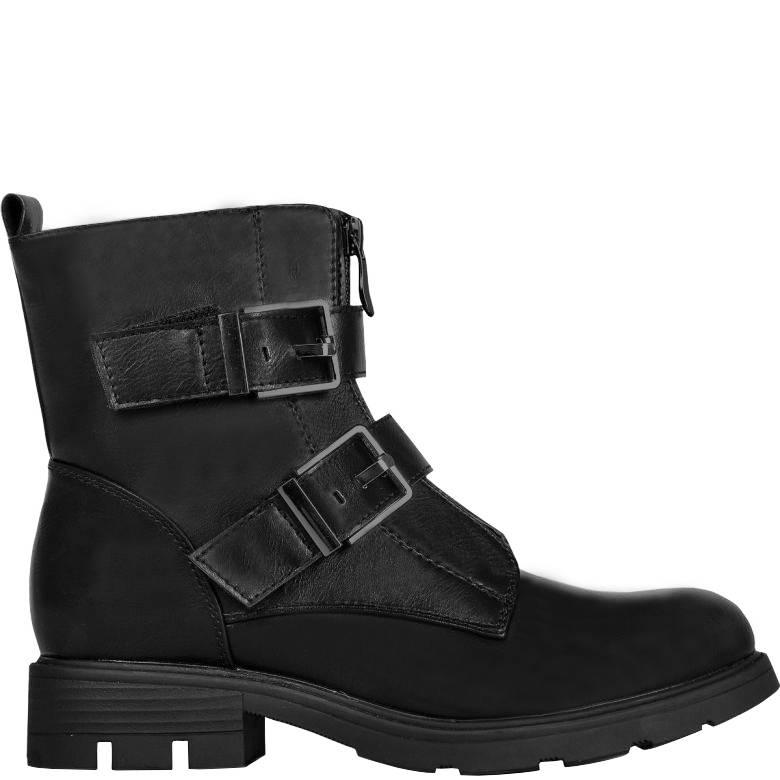 Joboly Robuste schwarze Stiefel mit Schnalle