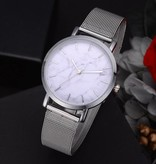 Joboly Vintage marble mesh horloge - staal - Ø 38 mm