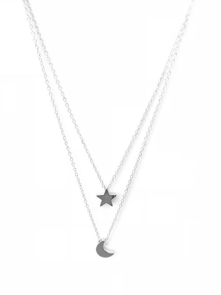 Joboly Stern und Mond mehrschichtige Halskette
