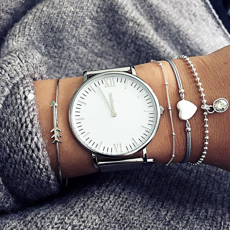 Joboly Set Armbänder Pfeil Herz Diamantperlen Münze 4 Stück