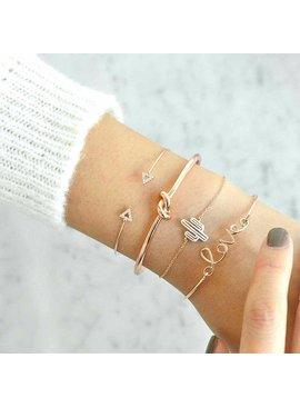 Joboly Set armbanden knot cactus love en pijl 4 delig