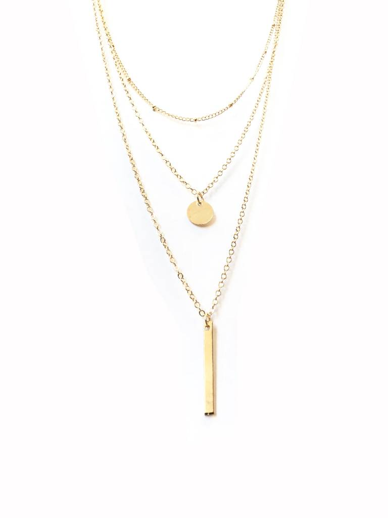 Joboly Bar coin coin and balls multilayer necklace