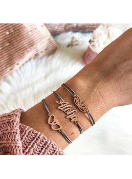 Joboly Set armbanden Aloha lotus en hartjes 3 delig