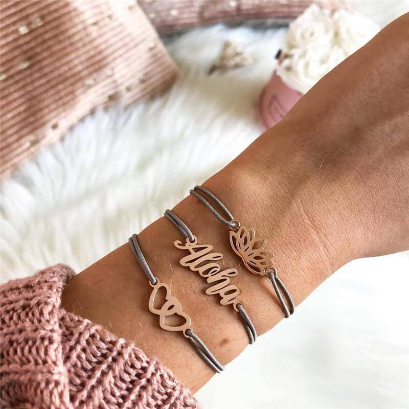 Joboly Set Armbänder Aloha Lotus und Herzen 3 Stück
