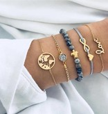 Joboly Set bracelets infinity love heart diamond globe and turtle 5 pieces