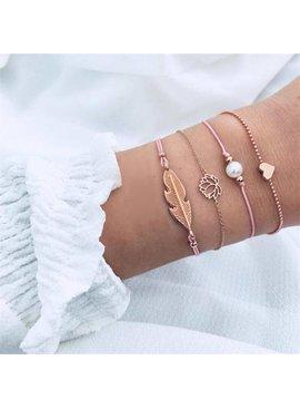 Joboly Set bracelets leaf leaf lotus pearl heart 4 pieces