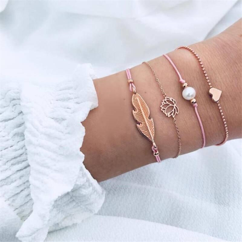 Joboly Set Armbänder Blatt Blatt Lotus Perle Herz 4 Stück