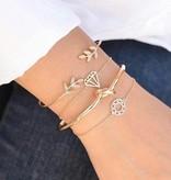 Joboly Set armbanden leaf blad knot diamant mandala 4 delig