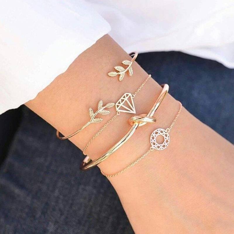 Joboly Set Armbänder Blatt Blatt Knoten Diamant Mandala 4 Stück