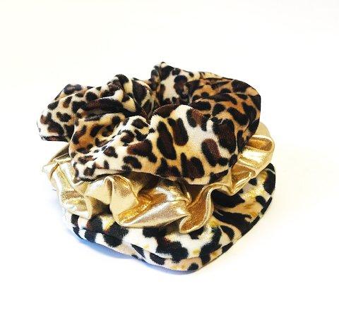 Joboly Scrunchie Leopard Velvet haarelastiek haarwokkel