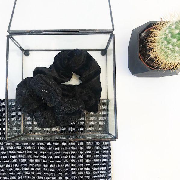 Joboly Scrunchie schwarzes Glitzerhaar elastischer Haarhahn