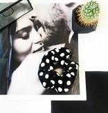 Joboly Scrunchie black dots velvet hair elastic hairwokkel