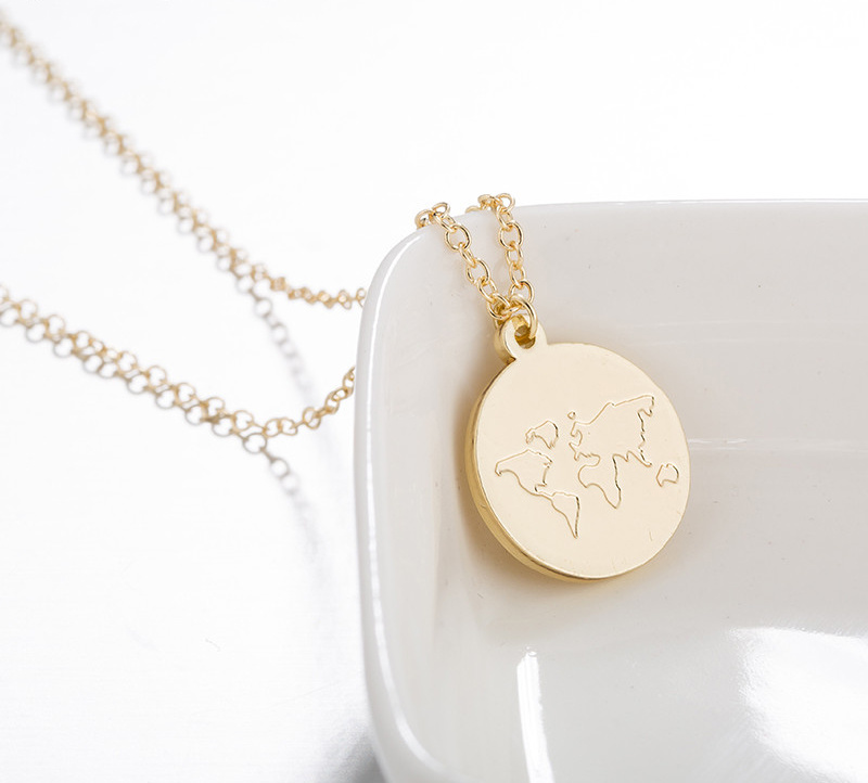 Joboly Globe dense world map earth necklace