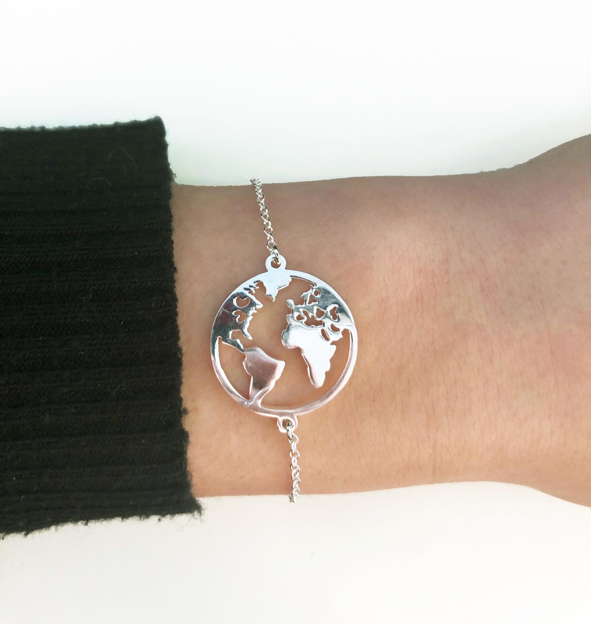 Joboly Globe world map earth bracelet
