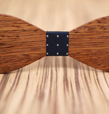 Joboly Stylish wooden butterfly bow tie dark blue with white crosses