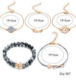 Joboly Set of bracelets infinity love heart diamond globe and turtle 5 parts