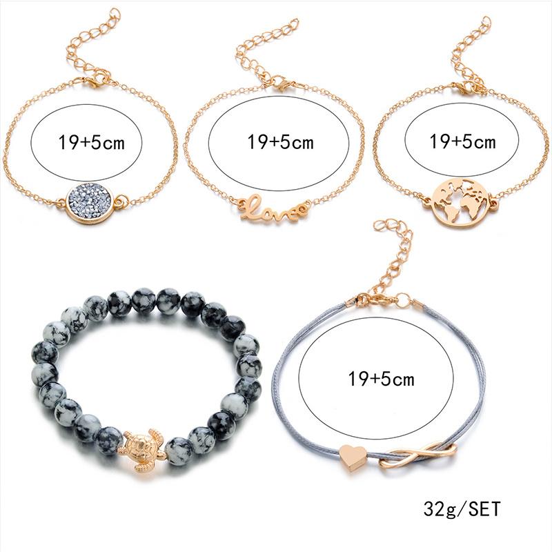 Joboly Set Armbänder unendlich Liebe Herz Diamantglobus und Schildkröte 5 Stück