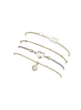 Joboly Set of bracelets arrow heart diamond beads coin 4 pieces