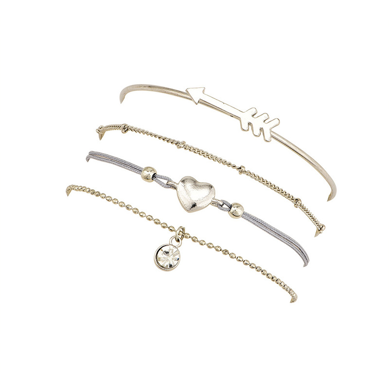 Joboly Set armbanden pijl hart diamant bolletjes coin 4 delig