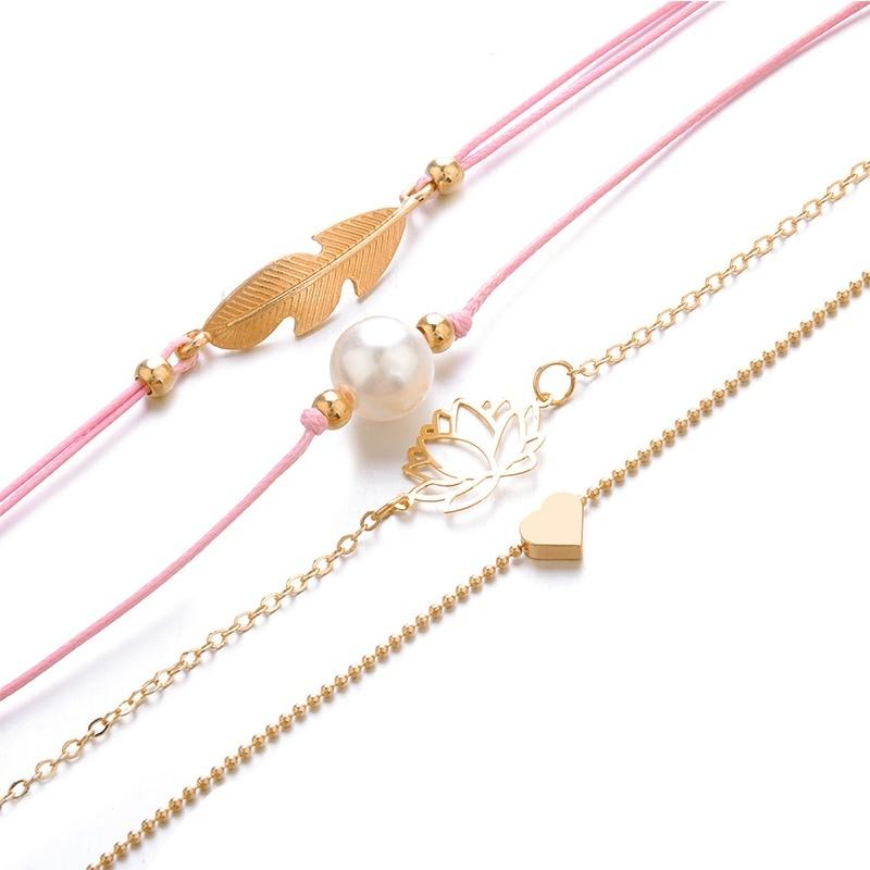 Joboly Set armbanden leaf blad lotus parel hartje 4 delig