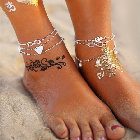 Joboly Anklet set infinity heart anchor hand 4 piece