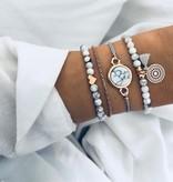 Joboly Set armbanden marmer love hartje mandala 4 delig